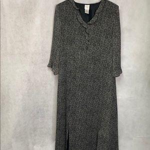 Garnet Hill 100 % Silk Ruffled Lined Circle Dress
